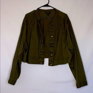 Torrid Army Green Military Crop Jacket Plu…
